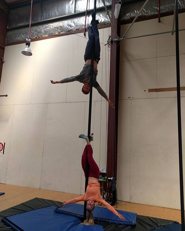 Circus class! Another birthday surprise. She's knows me too well.  Swipe to see the process.  #circus #chinesepole #fitness #travel