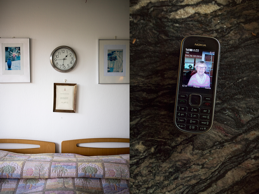Over their bed hangs the congratulatory letter that the couple got from the Queen to the occasion of their 65-year wedding anniversary. And Vagn has Enitz as wallpaper on his phone.