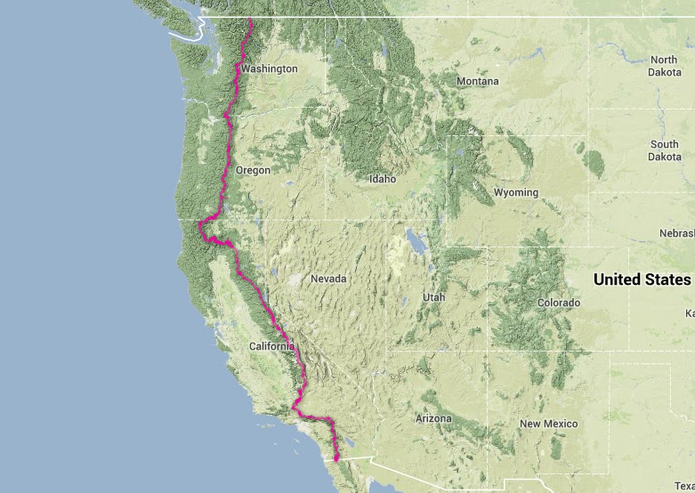 The 2,650 mile trail takes on average 5 months to cross