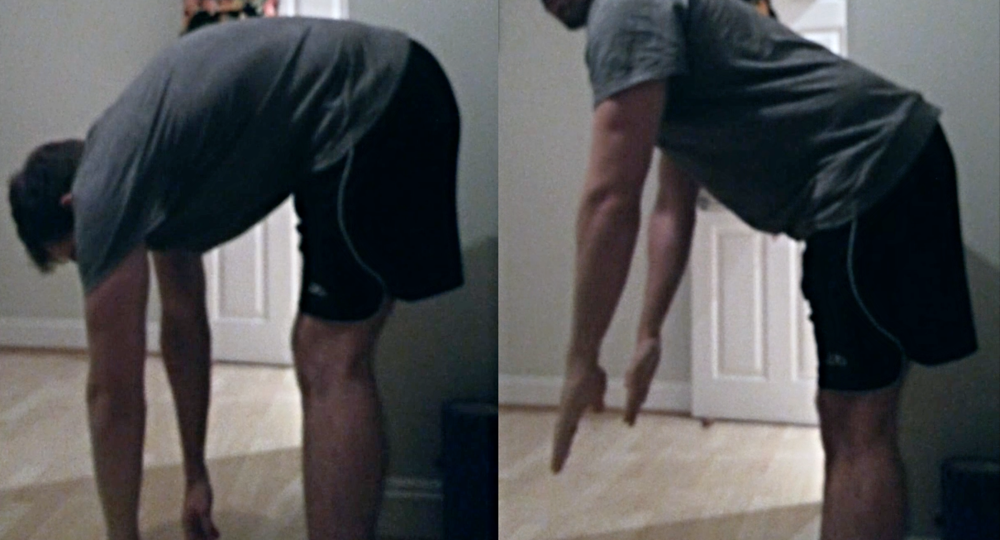 The left shot is a typically static hamstring stretch done wrong. I'm folding forward, with little effort to keep the top of the hamstring (the butt) in a stable position. On the right, the butt goes out first to ensure tension at the top of the hamstring is maximised.