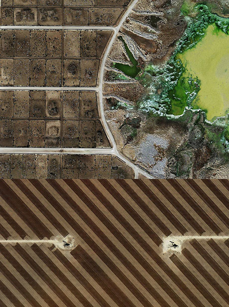 Mishka Henner's work includes aerial photographic images of Texan feedlots and oilfields, subtly hinting at the interrelationship between them driven by animal agriculture.