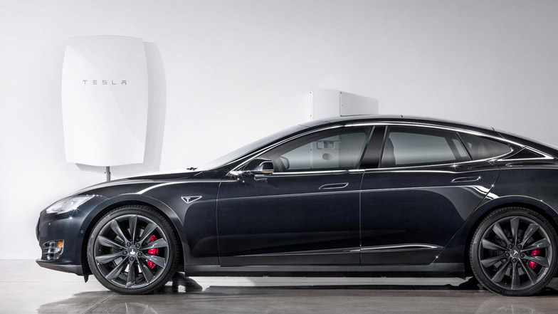 The Tesla Powerwall shown charging a Tesla car... not sure I could get that working in my top-floor two bedroom flat, but it'd be nice.