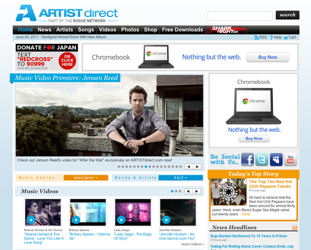 ArtistDirect ATW Hompage