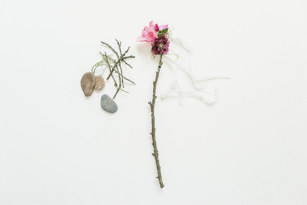 Hellebores and branch with  Silk & Willow