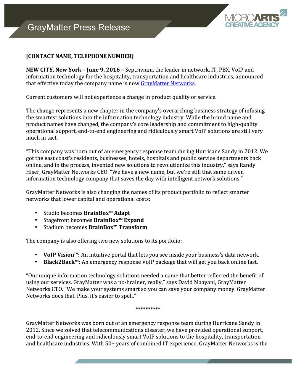 Wrote press release.