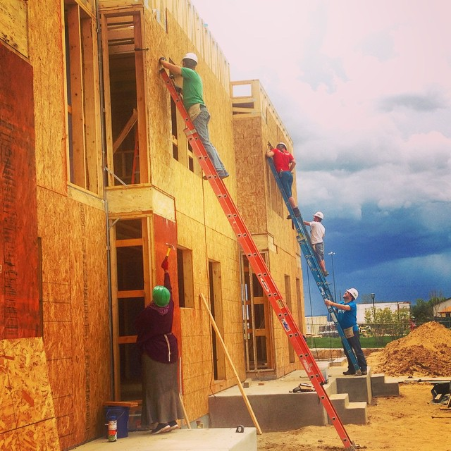 They say to build bridges instead of walls...But these walls are looking pretty good. #HYP #Habitat #HabitatforHumanity #Denver #Nonprofit #buildday