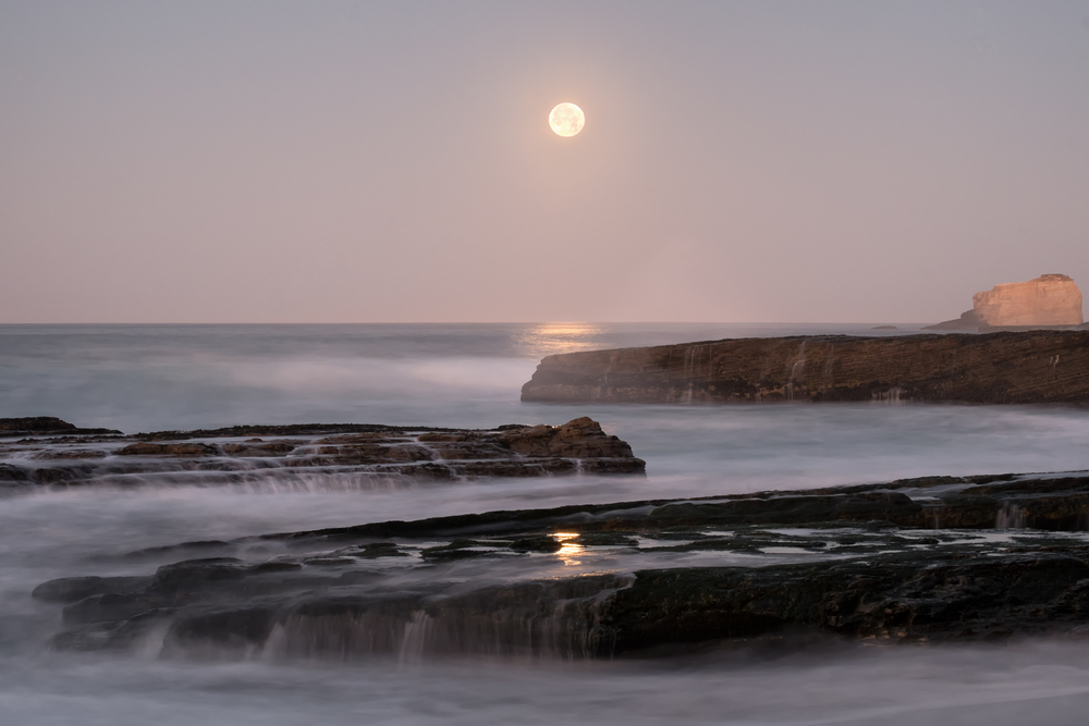 Moondust  Moonset over Laguna Beach, Santa Cruz, CA   purchase