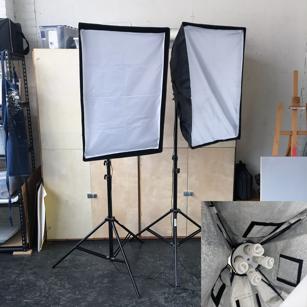 SOLD - Studio Lights - Soft Boxes 34 in x 22 in with continuous light and stands.