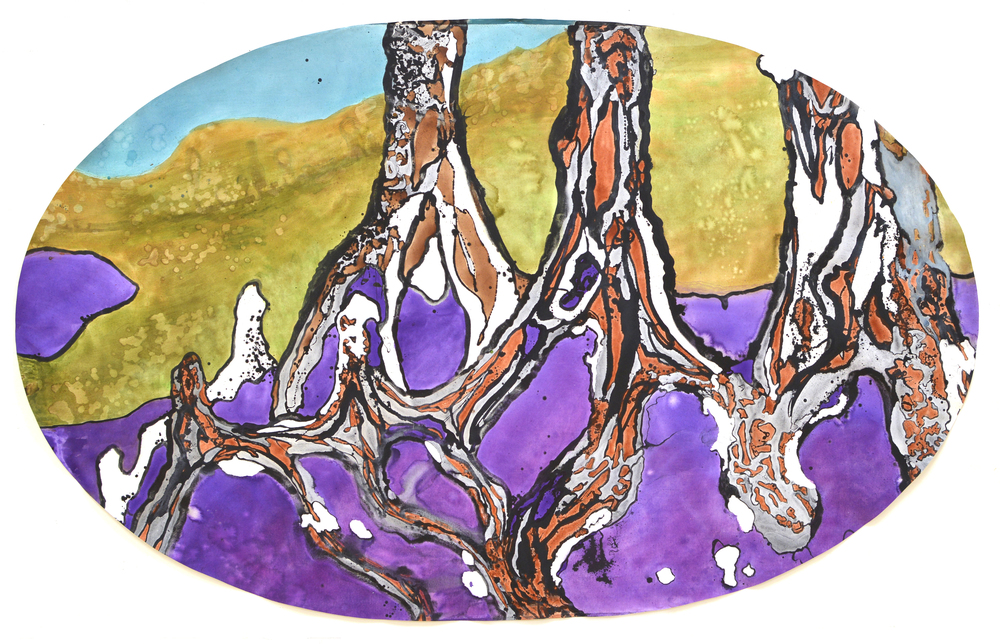 """Dancing Tree Roots II"" 2014 Acrylic on canvas oval 8x13 feet"