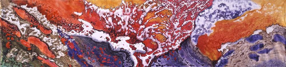 """  Fire: Element of Life  ""     2004, Acrylic on canvas, Molten Lava Series, 8  '  x32  '"