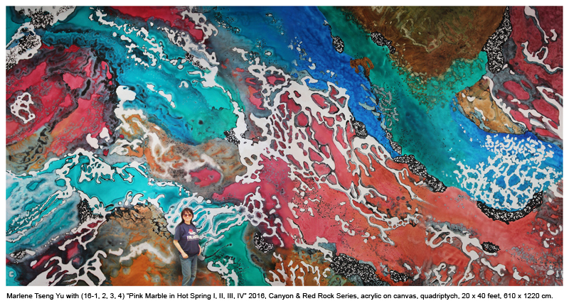 """Marlene Yu with """"Pink Marble in Hot Spring I, II, III, IV"""" 2016, Canyon and Red Rock Series, acrylic on canvas, quadriptych 20 x 40 feet, 610 x 1220 cm."""