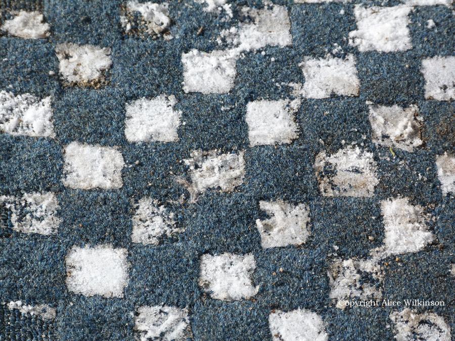 snow on rug
