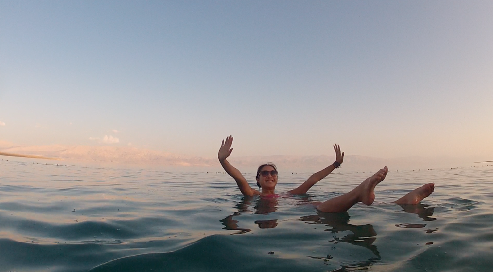 Floating at the Dead Sea, where Jesus could walk on water even if he wasn't Jesus.