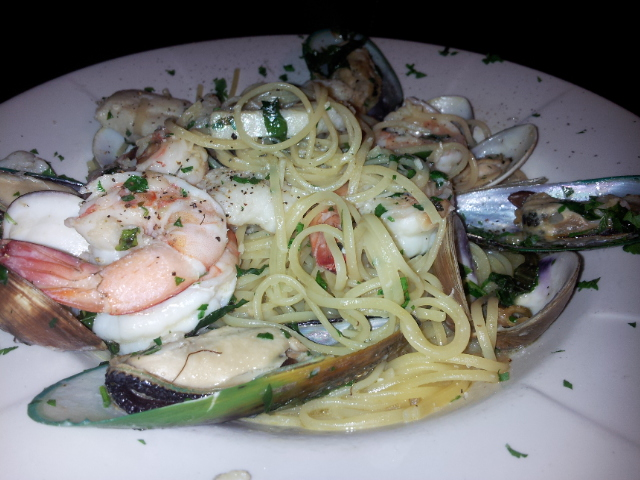Seafood Linguini at Caffe Luna Rosa