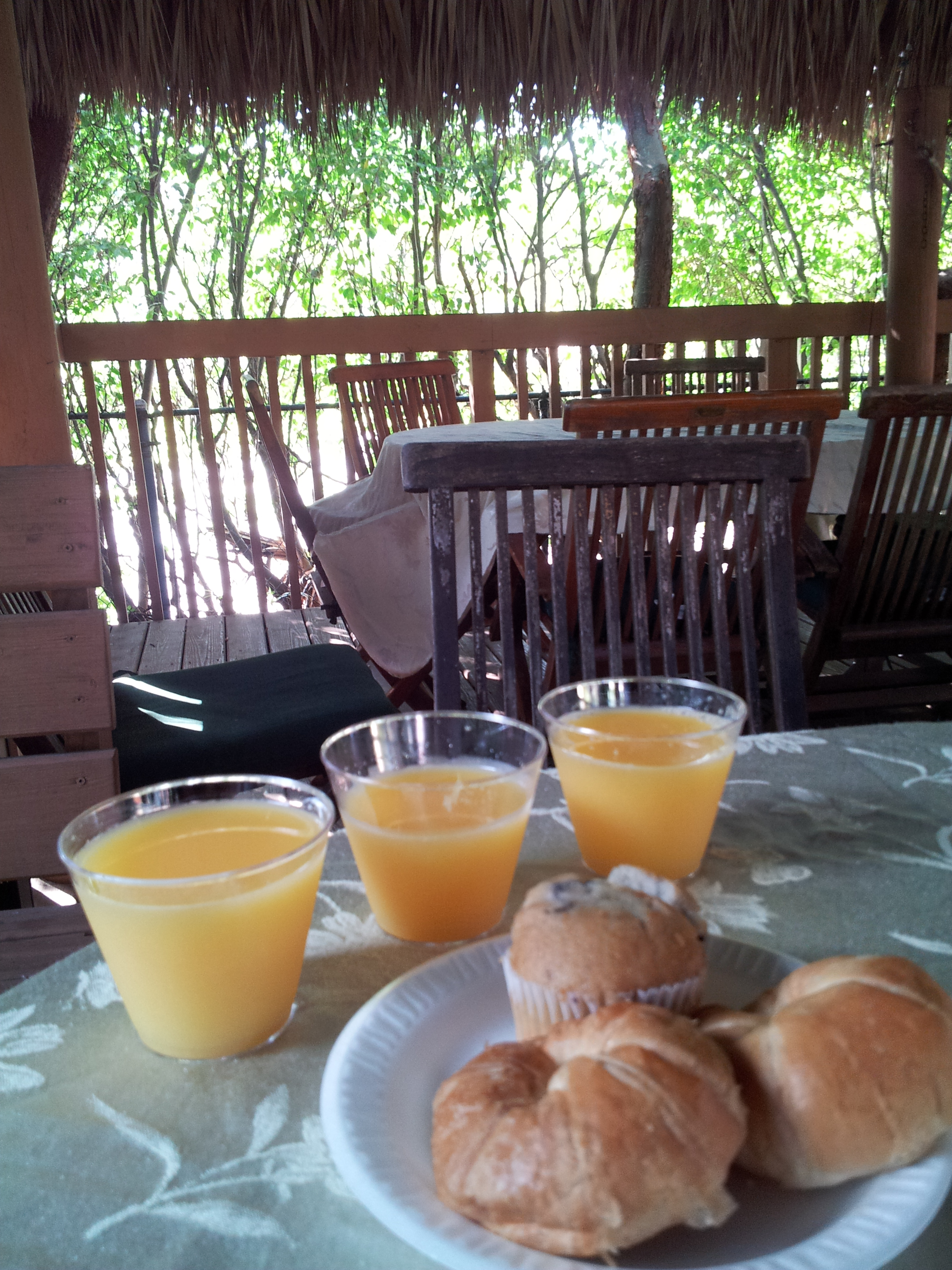 Breakfast under a tiki hut at Crane's Beach House