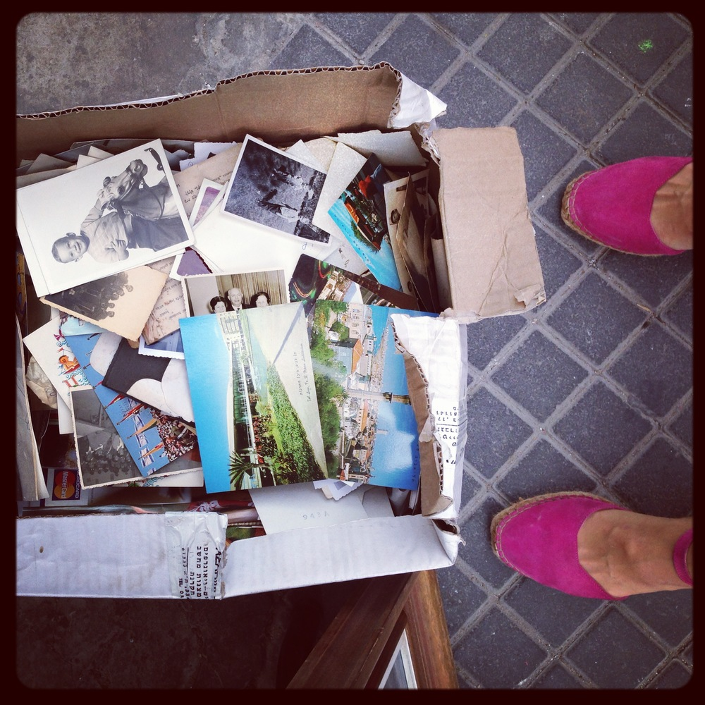 Box of old photographs for sale at the Jaffa Flea Market
