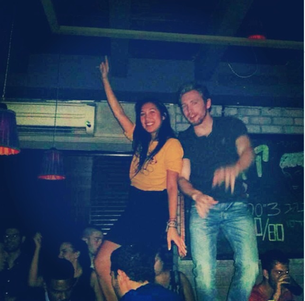 Dancing on the Bar. Just a crazy Friday night out in Tel Aviv at Ilka Bar.  Make sure you go out on a Friday night for a real taste of Tel Aviv nightlife. Saturday nights are pretty chill because the workweek begins on Sunday.