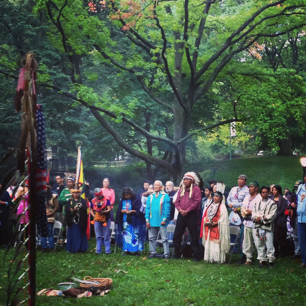 A beautiful sunrise pan-indigenous spiritual ceremony to launch the People's March.