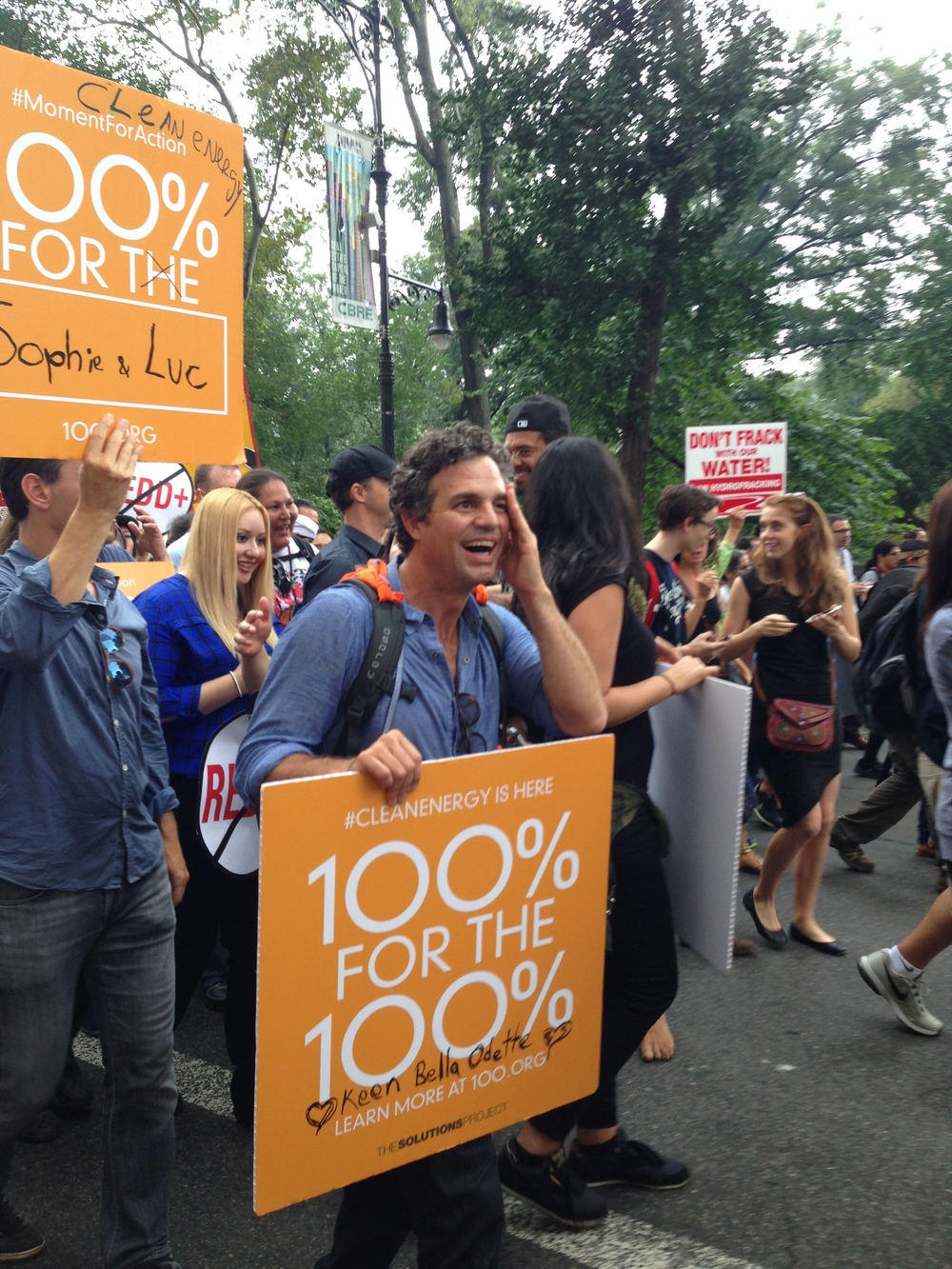 Mark Ruffalo marching for clean energy.