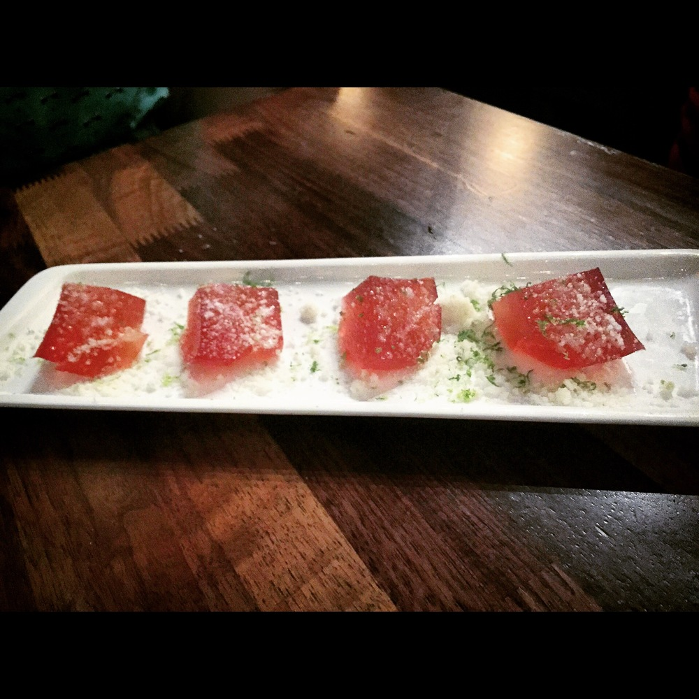 So freakingyummy.... These Jell-O shots look like tuna sashimi.
