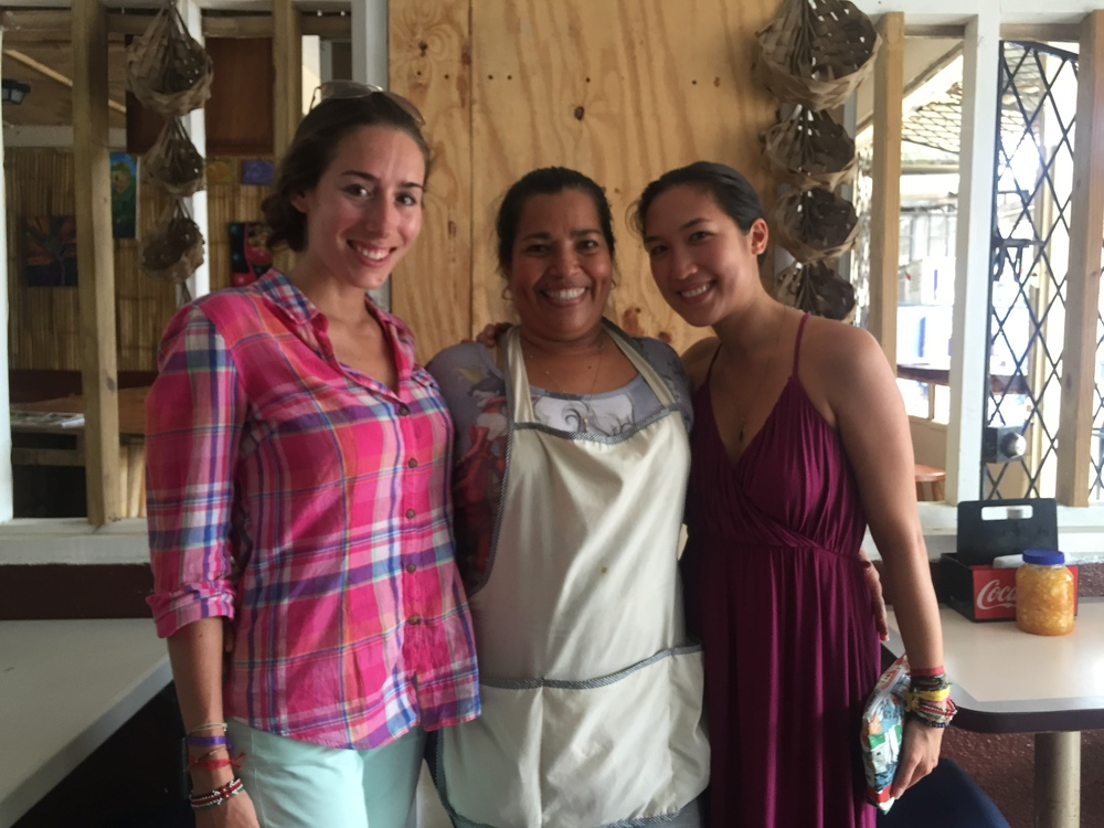 Left to right: Nicole, Lydia - the kickass owner/chef at this authentic Belizean restaurant, me.