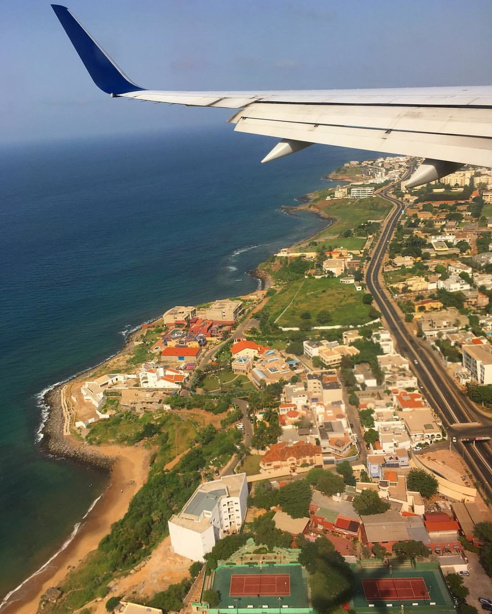 My view from the plane about to touch down in Dakar.
