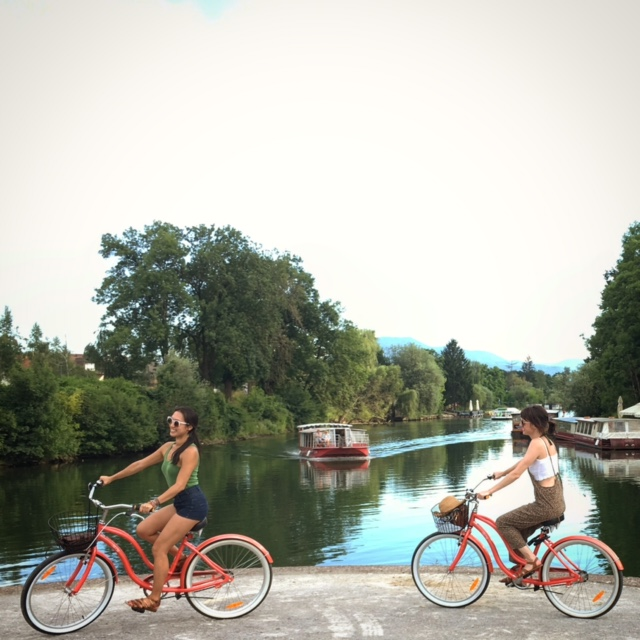 Biking by Ljubljanica River