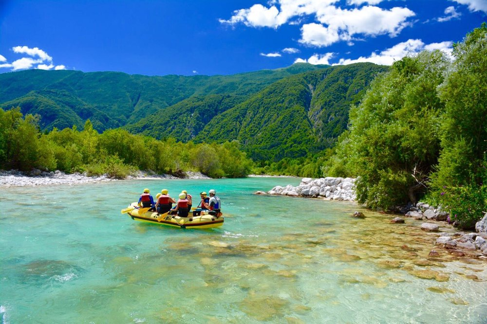 White-water rafting down the Soča River.