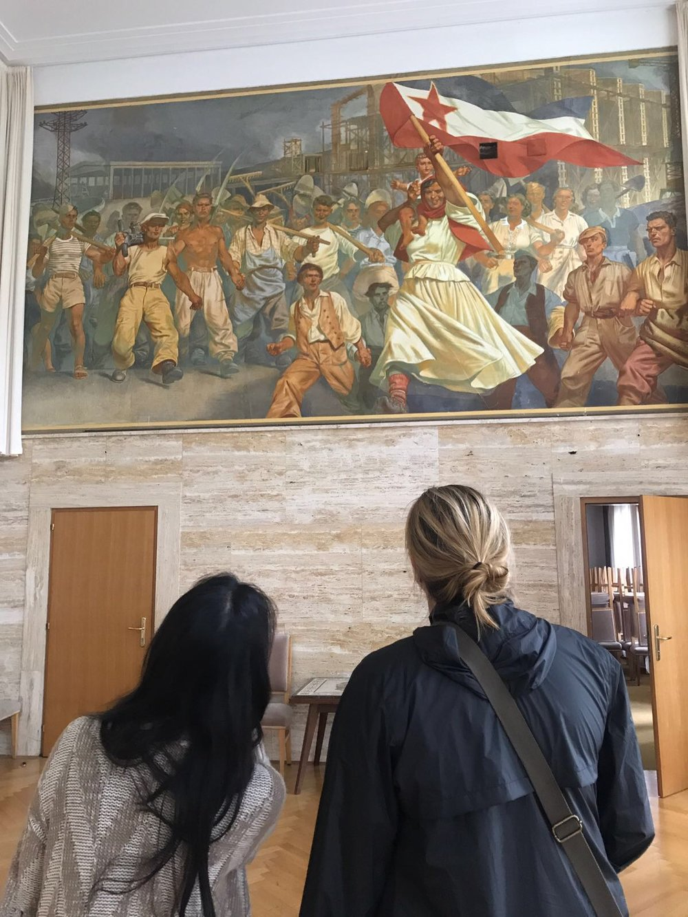At the former royal summer home and residence of the first-president of Yugoslavia (now a boutique hotel called  Vila Bled ), is this one of the beautiful examples of socialist art hanging on the walls of the congress center.
