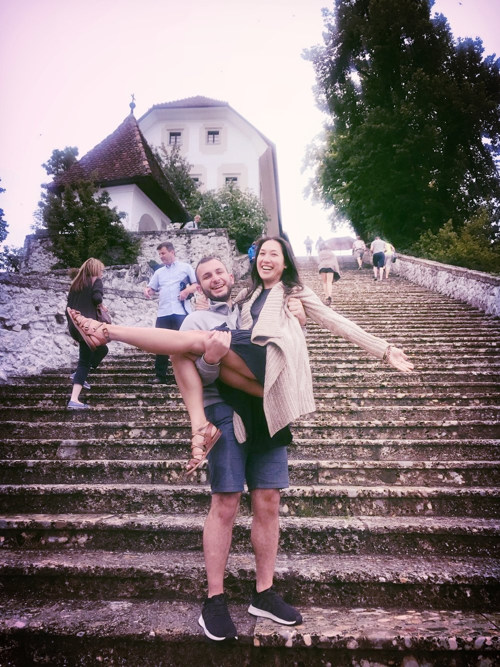 According to Slovenian wedding traditions, the groom must climb up 99 steps to the Church of the Assumption while his bride must stay quiet the entire time. I tested this out with my friend Rami and he lasted only 10 steps while I couldn't stop giggling the entire time. It was an epic fail on our part.