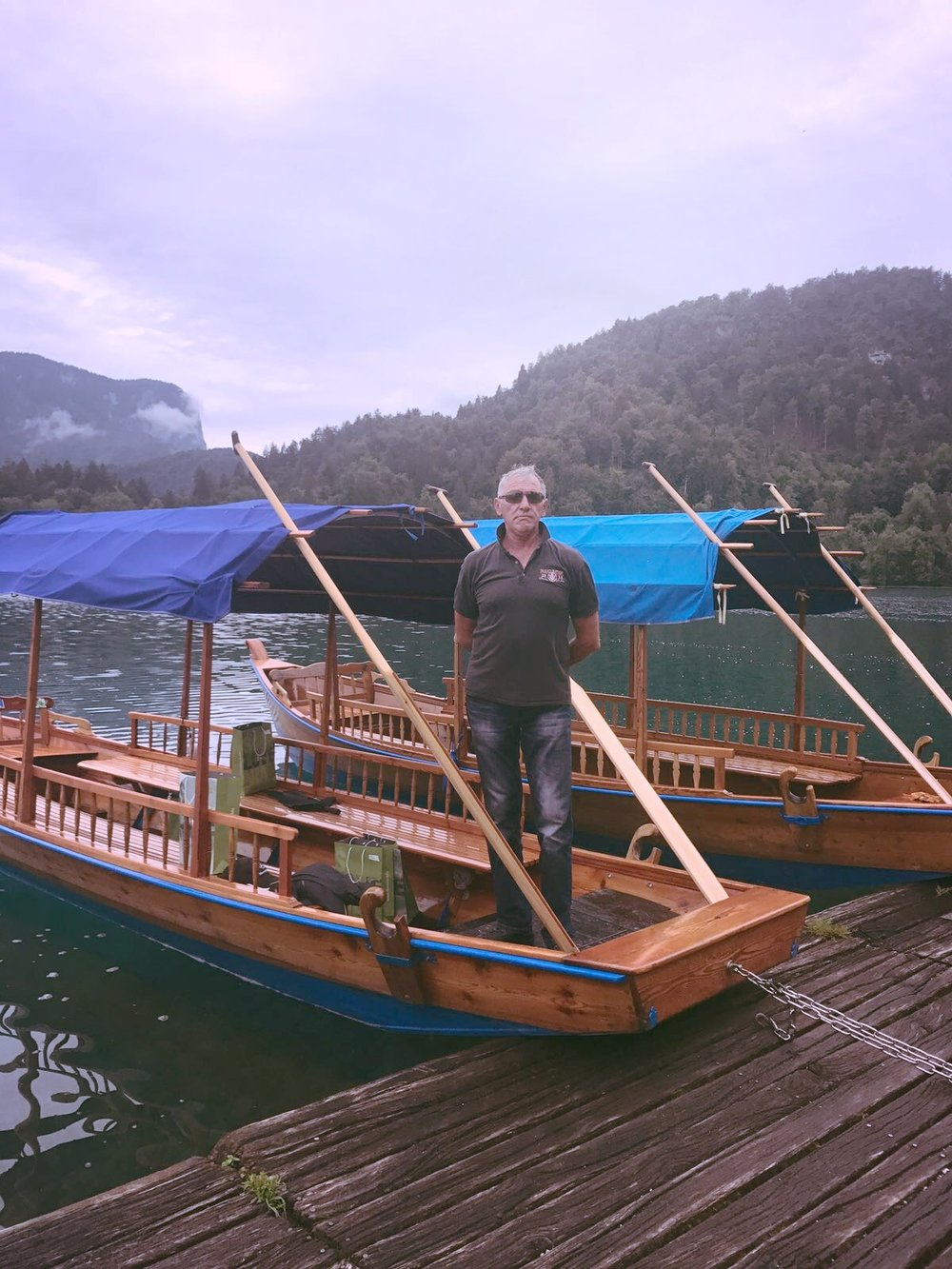 One way to get to the island in the middle of Lake Bled is on these hand rowed boats.