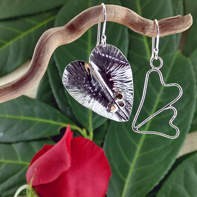 Sterling silver foldform and wire hearts earrings - $88.