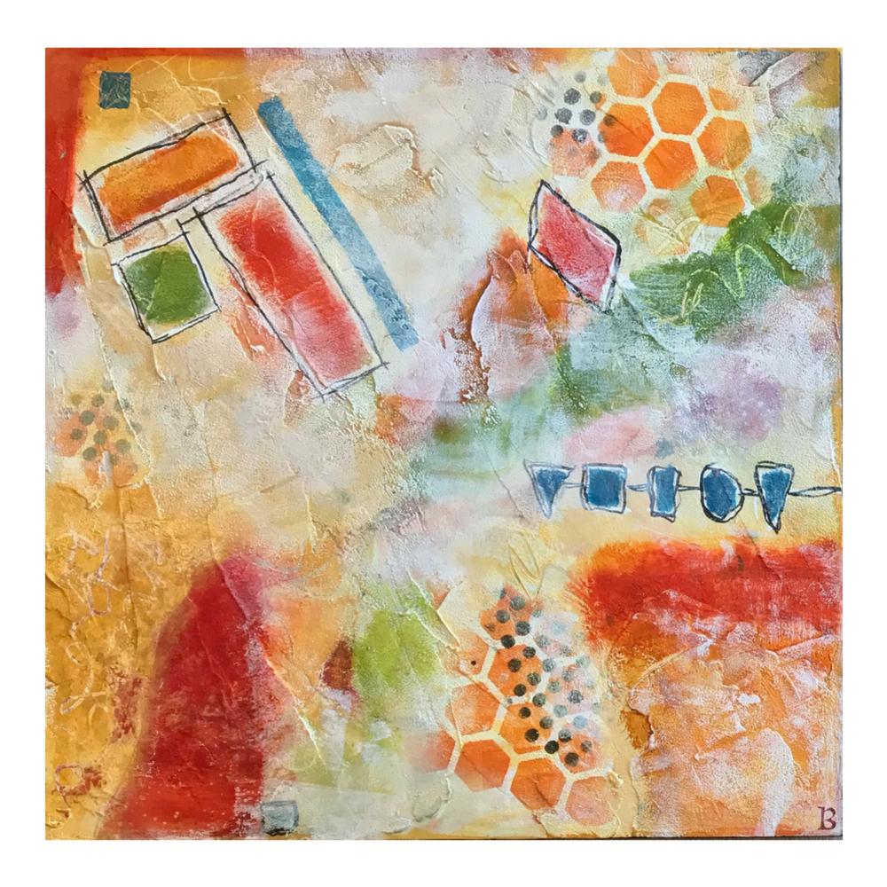 "Abstract on Wood Panel - 10""x 10"""