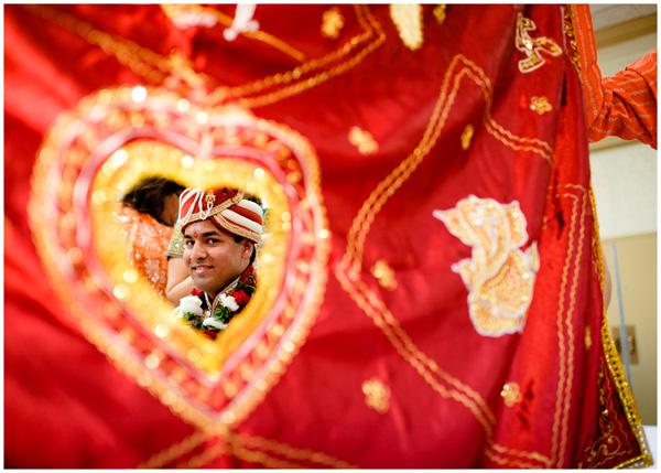 heart blanket indian groom smile