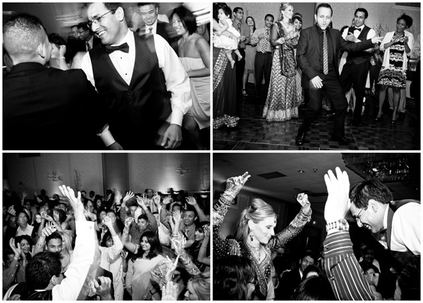 black white dancing fun indian wedding
