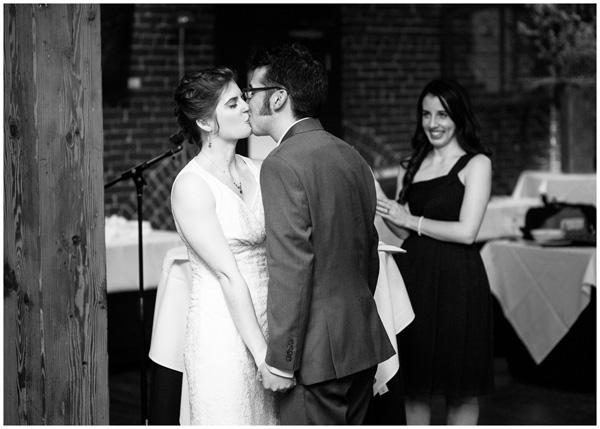 first kiss black white bridgeport wedding