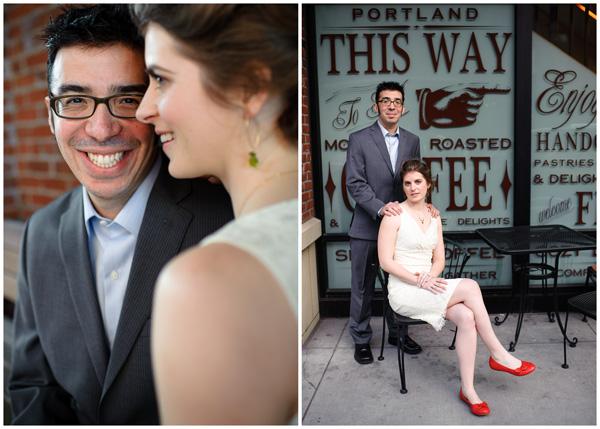 portland wedding bride groom coffee smiles