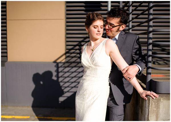 shadow sunshine portland wedding portrait