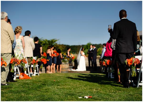 wedding ceremony winery outdoors sunshine