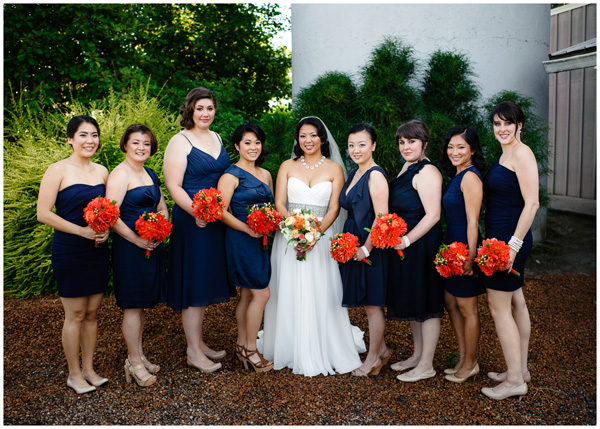 bride and bridesmaids orange flowers