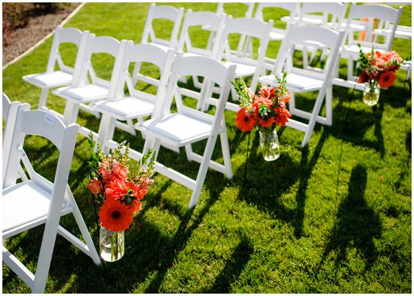 orange flowers wedding oregon wine country