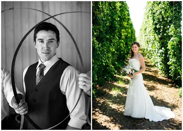 creative groom bride portrait rogue farms hopyard
