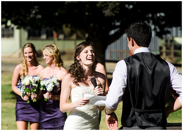 rogue farms wedding bride laughing during vows