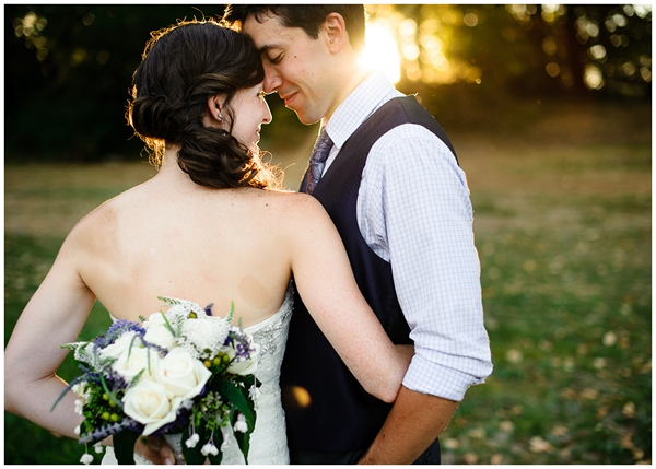 bride and groom portrait in beautiful sunlight at rogue hopyard