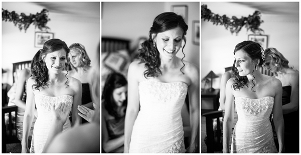 bride getting ready beautiful black and white
