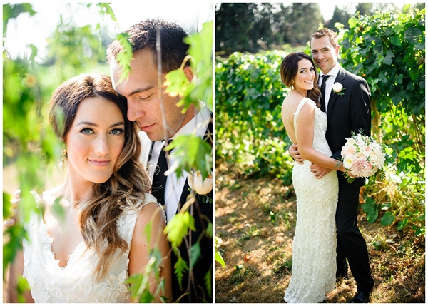 beautiful oregon couple vineyard wedding portrait