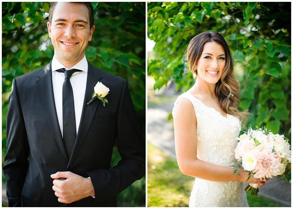 individual portrait bride and groom sunny wedding