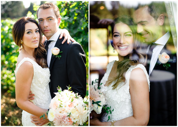 creative natural bride groom window portrait