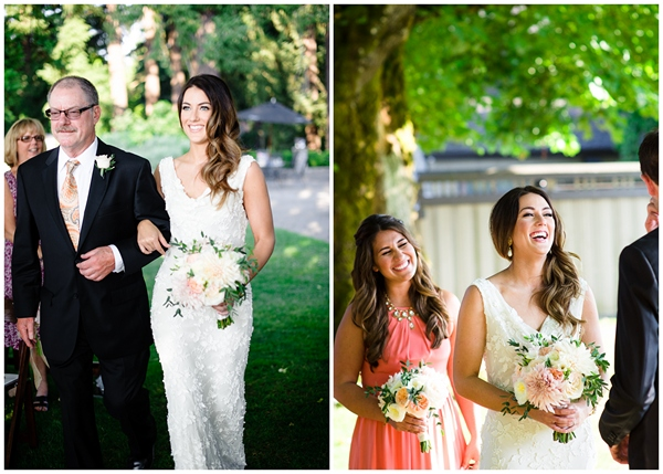 bride smiling walking down aisle at oregon wedding
