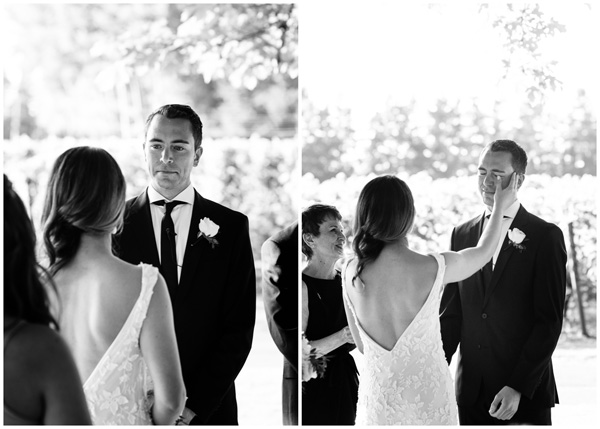 emotional groom black white classic photograph